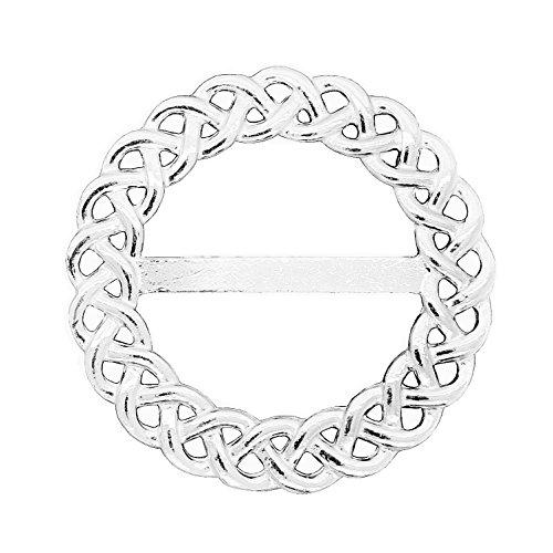 Luxury Fine Pewter Celtic Braid Scarf Ring, Handcast by William Sturt (Celtic Braid Ring)