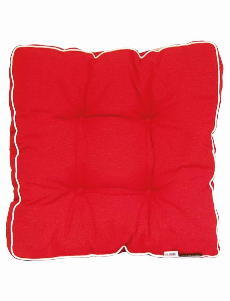 Madison 6 Stück Dessin Panama Hockerauflage, Sitzkissen, Sitzpolster Florence, 75% Baumwolle, 25% Polyester, 47 x 47 cm, in rot