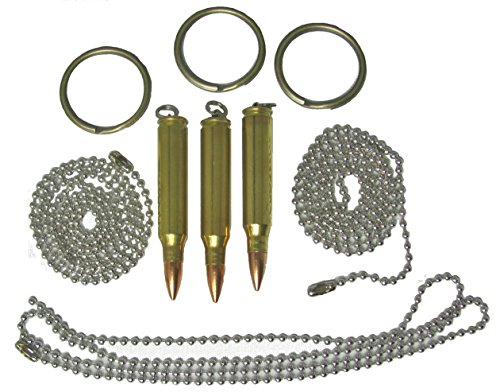 Set of Three Bullet Pendants, Dogtag Necklace, or Key Rings 223