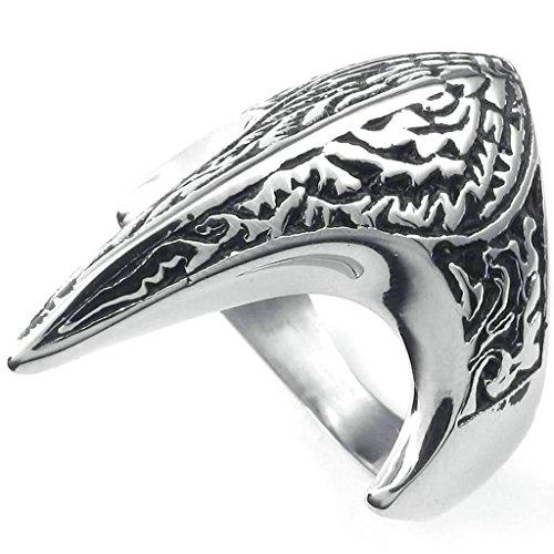 Daesar Mens Rings Stainless Steel Bands Phoenix Fire Bird Rings for Men Silver Black Rings -