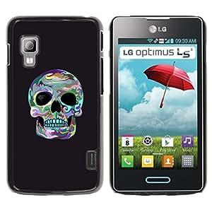 GOODTHINGS Funda Imagen Diseño Carcasa Tapa Trasera Negro Cover Skin Case para LG Optimus L5 II Dual E455 E460 - cráneo de surf gris muerte fría cuenca del ojo