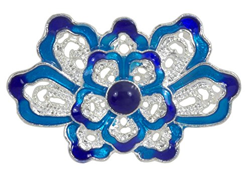 Cloisonne Bag - Connector Finding, Lotus Flower Cloisonne Silver Plated Connector - 1