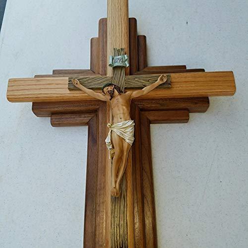 - 746729460250 Crucifix - Wood - Walnut and Oak Wall Cross 24