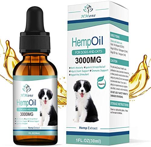 HMone Organic Hemp Oil for Dogs and Cats - for Anxiety, Pain, Arthritis Relief for Pet - Calming Aid for Pet - Omega 3, 6, 9 - Vitamin C, E