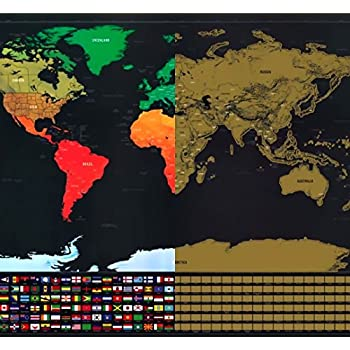 scratch 39 n go map with us states deluxe scratch off map of the world scratch. Black Bedroom Furniture Sets. Home Design Ideas