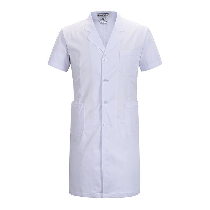 Manga Corta Largo párrafo Ropa de Trabajo Blanco Abrigo Enfermera Doctor Abrigo (Hombre, S