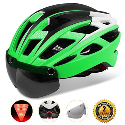 Shinmax Adults Bike Helmet, MTB Bike Helmet Men With Removable Shield Visor/Detachable Safty Rear Led Light Review