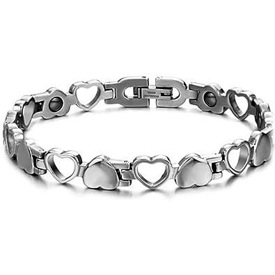 Homme Cadeau Couleur Argent Avec Magnétique Inoxydable 21 Acier 5cm Jewelrywe Longueur Coeur Bracelet Fantaisie Bijoux Sac BxdoCe