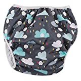 Zooawa Baby Washable Swim Diaper, Reusable Swimming Nappy Pants Baby Swimsuit Diaper Cover for Infants, Adjustable Snap & Waterproof