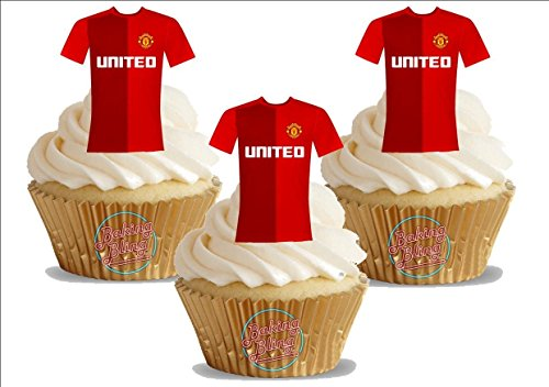 12 x Manchester Reds FC Football Shirts - Choose From UNFLAVOURED or VANILLA-SWEETENED Toppers - Fun Novelty Birthday PREMIUM STAND UP Edible Wafer Card Cake Toppers Decorations United
