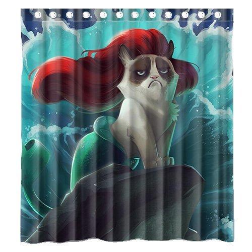 Custom Grumpy Cat Of Little Mermaid Waterproof Polyester Fabric Bathroom Shower Curtain Standard Size 66wx72h Amazonca Home Kitchen