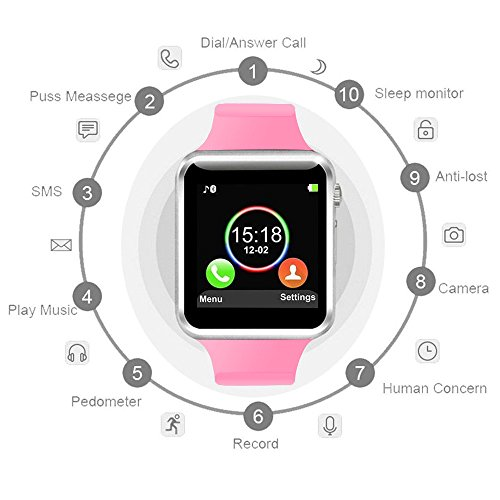 COSROLE Bluetooth Smart Watch, A1 Touch Screen Smart Wrist Watch with 8GB SD Card & Two Batteries & Screen Protector for Samsung Xiaomi Huawei Sony HTC LG Android Smartphones - Pink by COSROLE (Image #1)'