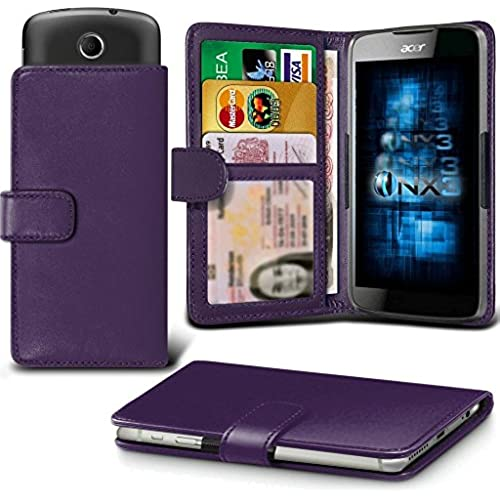 ONX3 (Dark Purple) Samsung Galaxy S8 Case Universal Adjustable Spring Wallet ID Card Holder with Camera Slide and Banknotes Slot Sales