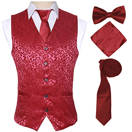Red Suit Vests Set for Men and Teenagers with Necktie Handkerchief Bowtie,Red,M ()