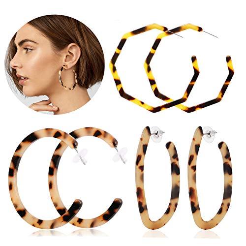 Adramata Acrylic Hoop Dangle Earrings for Women Leopard Print Resin Earring Statement Jewelry ...