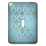 3dRose Uta Naumann Faux Glitter Pattern - Image of Sky Blue and Gold Metal Foil Vintage Luxury Damask Pattern - Light Switch Covers - single toggle switch (lsp_290167_1)