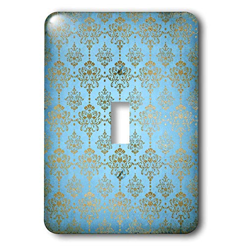 3dRose Uta Naumann Faux Glitter Pattern - Image of Sky Blue and Gold Metal Foil Vintage Luxury Damask Pattern - Light Switch Covers - single toggle switch (lsp_290167_1) by 3dRose