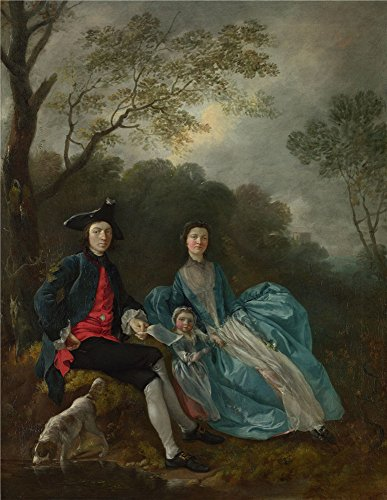 Oil Painting 'Thomas Gainsborough Portrait Of The Artist With His Wife And Daughter' 12 x 16 inch / 30 x 39 cm , on High Definition HD canvas prints, gifts for Garage, Nursery And Powder Room decor