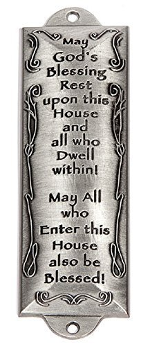 Hebrew House Blessing - Mezuzah - Bless This House (Pewter) - 4.25