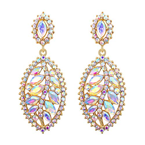 EVER FAITH Rhinestone Crystal Leaf Drop Shaped Luxury Prom Pierced Earrings Iridescent Clear AB Gold-Tone