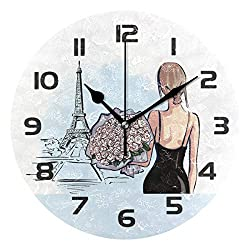 One Bear Beautiful Stylish Girl Back Side in Paris Round Wall Clock, Eiffel Tower Silent Battery Operated Non Ticking Acrylic Wall Clocks for Home Office School Clock Art Decorative