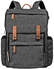 Hap Tim Diaper Bag Backpack Muilti Function Waterproof Large Capacity Travel Diaper Backpack For Baby Care With Stroller Straps Insulated Pockets (K1004-DG-SG)