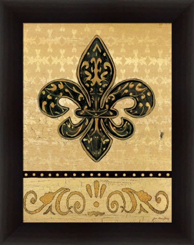 Fleur De Lis Pictures (Golden Fleur De Lis II Black Gold Sign Framed Art Print Picture Wall Decor by Jo Moulton)
