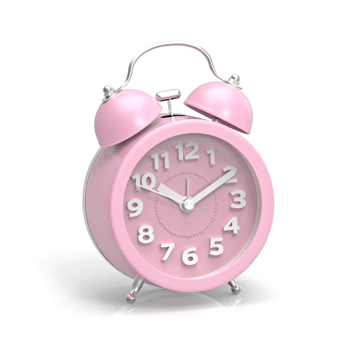 """PiLife 3"""" Mini Non-ticking Vintage ClassicAnalog Alarm Clock with Backlight , Battery Operated Travel Clock, Loud Twin Bell Alarm Clock for Kids(Pink)"""