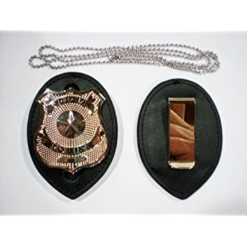 Police Clip on Leather Badge holder and Chain BADGE NOT INCLUDED!