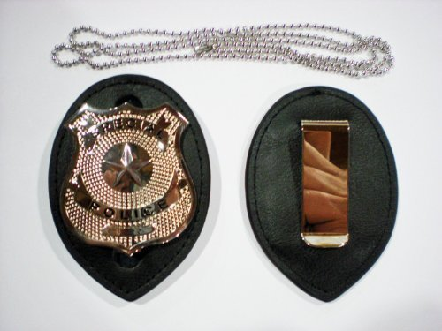 Police Clip on Leather Badge holder and Chain BADGE NOT -