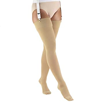 e35f3a789b8953 30-40 mmHg Compression Stockings for Men and Women, Thigh High Length,  Closed
