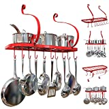 Pot Rack Wall Mounted, Pot Pan Hanging Rack Made by Iron Material And With Spray Painting Process Finished, Including 10 moveable hanging hooks. (Red)