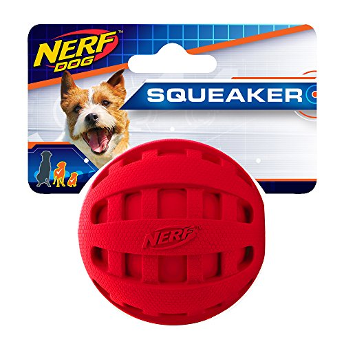 (Nerf Dog Checker Squeak Rubber Ball Dog Toy, Small/Medium, Red)