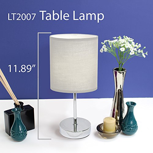 Simple Designs Home LT2007-WHT Chrome Mini Basic Table Lamp with Fabric Shade, 5.7