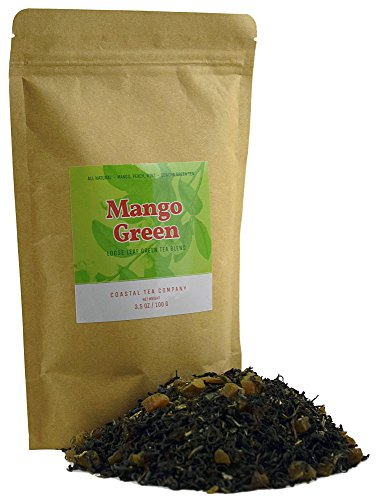 Coastal Tea, Mango Peach Mint Green Tea, Loose Leaf Blend, 3.5 Ounce