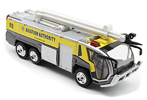 Ailejia Airport Diecast Fire Truck Engine Pullback Friction Toy Engineering vehicle fire truck model (yellow) -