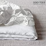 Simple&Opulence 100% Linen Solid Color Fitted Sheet Twin Queen King (White, Queen)