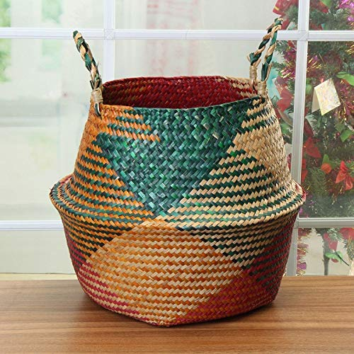 Clearance Sale! Eco-Friendly Seagrass Baskets - Handmade for Home & Decoration Natural Color for Storage, Laundry, Picnic, Plant Pot Cover, and Beach Bag (Medium, Pattern) for $<!--$31.99-->