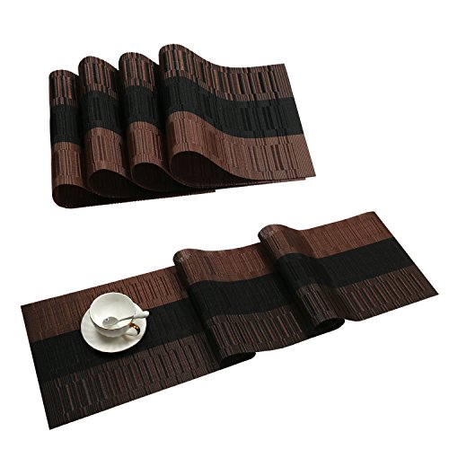 SHACOS Table Runners with Placemats Set,Heat Resistant Kitchen Table Mats,4PCS Placemats with 12 by 54 inch Table Runner,Ombre Coffee and ()
