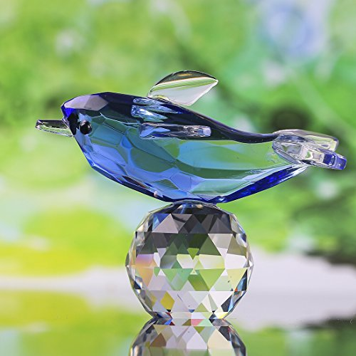 (H&D Blue Crystal Dolphin Figurine Collectible with Ball Paperweight Table Knicknack Fengshui Ornament 2.12.7IN)