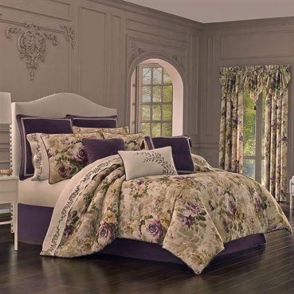 95b8a31d229a Amazon.com: J Queen New York, Inc. Floral Grace Comforter Set Plum ...