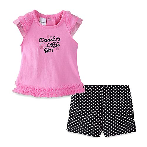 Mud Kingdom Thanksgiving Baby Girl Outfit Lace Top and Short Clothes Set 24M Pink Daddy's Little Girl