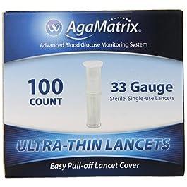 AgaMatrix Lancets, 33 Gauge, 100 Count Box