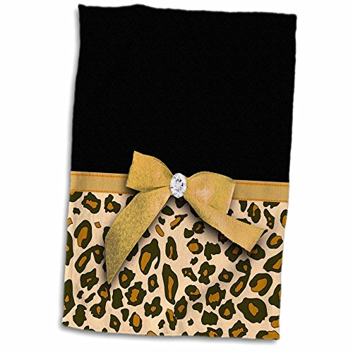 3D Rose Gold Leopard Spots with Glamorous Faux Ribbon Bow-Girly Glam Graphic-Brown Black Tan Beige Hand/Sports Towel, 15 x 22, Multicolor