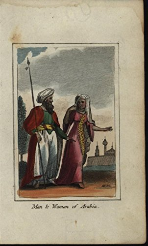 Citizens of Arabia Richly Colored Costume 1820 antique engraved hand color print