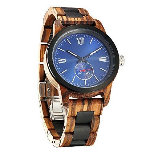 - Wilds Mens Wooden Watch - Wood Grain Watch- Stainless Steel Bezel - Small Seconds Sub-dial - Premium Japanese Quartz Movement - Lightweight Watch - Men's Gift Ideas - Band Adjustment Tool Included