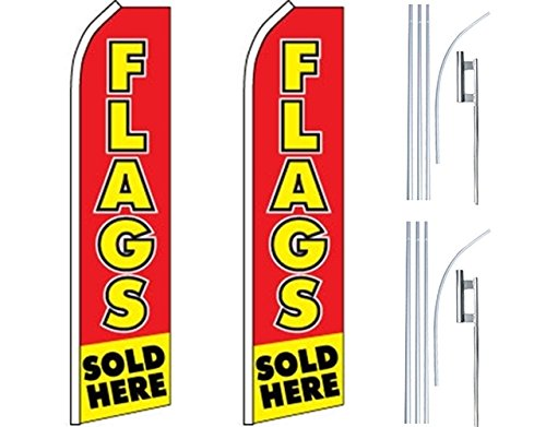2 Swooper Flutter Feather Flags plus 2 Poles /& Ground Spikes PREOWNED CARS Blue White Yellow