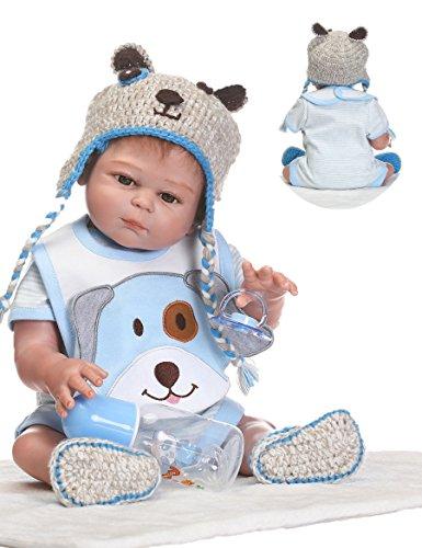Handmade Reborn Baby Dolls Boy Realistic Silicone Full Body 20 inchs Washable Toy Doll Anatomically Correct Blue -