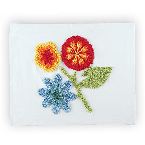 Spring Flowers Floral Cotton Chenille Standard Pillow Sham, White from Collections Etc