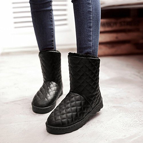 Carolbar Women's Snow Warm Casual Shearling Black Boots Comfort Fashion rrCw16dqx